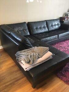 Black pleather pullout sofa sectional (used)