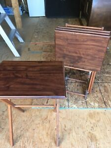 Antique Wooden TV Tray Set