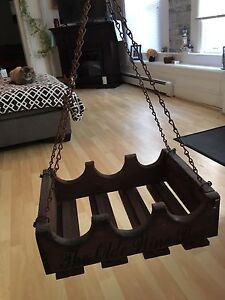 Wooden hanging wine rack and glass holder
