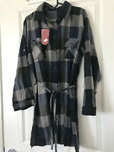 plaid button down dress never worn with tag