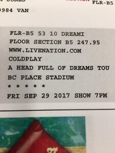 2 Floor Seats for COLDPLAY