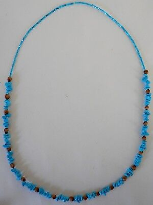 Navajo Ghost Cedar Beads Juniper Berry, Blue Turquoise nuggets 30 inch Necklace