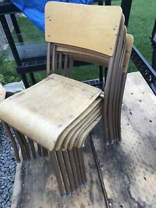 6x Wooden Hall Chairs