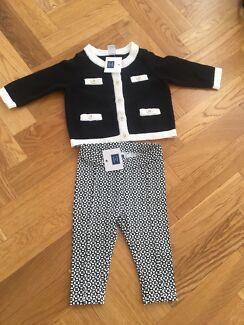 Jane and Jack Baby girl matching cardigan and Leggings Set Balwyn Boroondara Area Preview