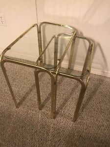 Glass and gold end tables