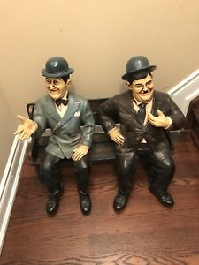 Laurel and Hardy Sitting on a Bench