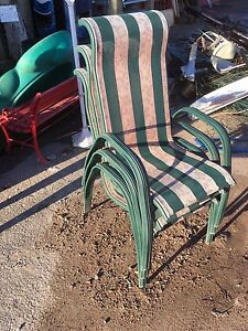 3 Metal framed patio chairs