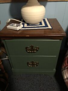Two night table and tall boy dresser