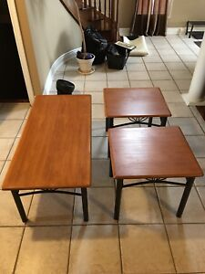 Coffee table set, solid wood tops, metal stands.