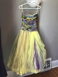 Purple and yellow multi-colour small PROM dress
