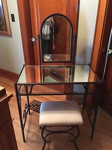 Glass Vanity with Stool