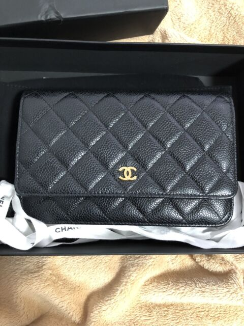 b6b402ea0a68c7 Chanel Caviar Calfskin Quilted Classic WOC Wallet On Chain Gold ...
