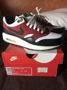 Nike Air Max 1 GS size 7y white black gym red