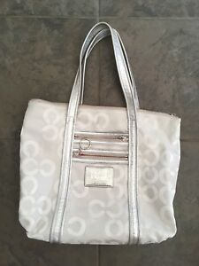 Silver Poppy Coach Tote Purse