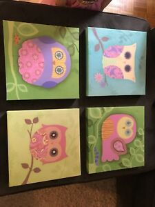 Cute owl canvases for a little girls room