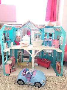 Barbie house with furniture and car