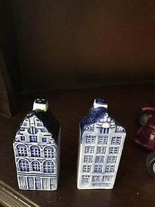 Delft blue and white canal salt and pepper