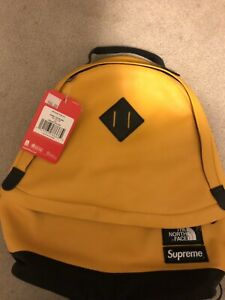 North Face Supreme Leather Backpack Taxi Yellow