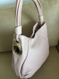 Oroton soft leather hobo, soft pink/ nude + rose gold