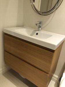 IKEA Bathroom Vanity, Faucet, Sink & Mirror