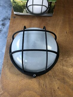 Carlton Large Round Caged Bunker Lights