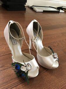 Satin white wedding shoes (size 7)