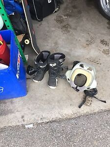 Motocross boots and neck brace
