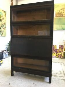 Antique Macey Barrister bookcase with desk - walnut
