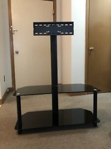 Black glass TV stand w/ mount
