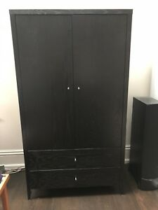 Black solid maple armoire with 2 drawers