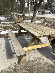 Solid picnic table needs staining SOLD pending PU