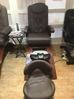 Massage Pedi Chairs and Esthetics Bed for sale