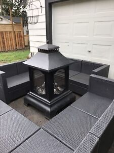 Efficient, elegant, metal, 2 tiered outdoor fireplace