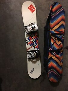 Flow snowboard, bindings, and a bag
