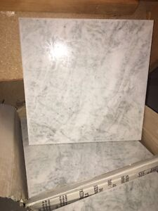 Floor tile, 13x13,  white with green