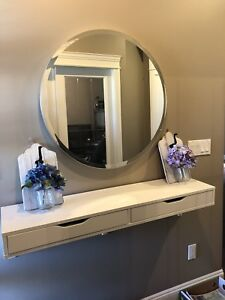 Entry way mirror and shelving