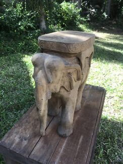 Hand Crafted Wooden Elephant Side Table
