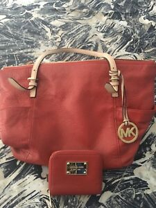 MK red leather handbag with matching wallet