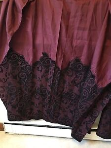 2 maroon and velvet lace shower curtains
