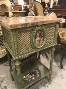 French Side / Bedside Table with Marble Top