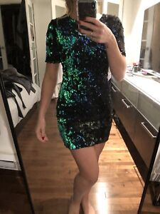 Paillette turquoise and black dress