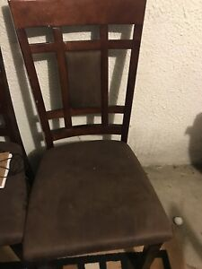 5 brown suede chairs for a dining room set but no table