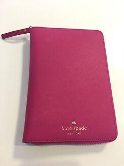 Kate Spade medium leather zip planner in hot pink