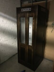 Vintage solid walnut telephone booth