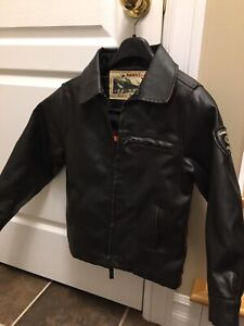 BOY'S HAWKE &CO. OUTFITTER 1958 FAUX LEATHER PILOT BOMBER JACKET