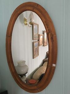 Antique pine oval mirror