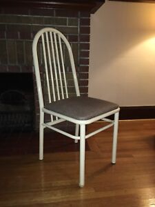 4 white metal dining chairs