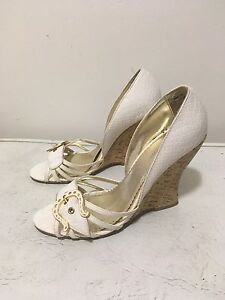 White wedge sandals, size 8