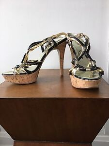 Guess Gold and Snake Print Cork Heeled Sandal (Size 8.5)!