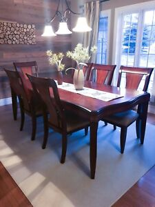 Dining Table, Chairs, and Side Table